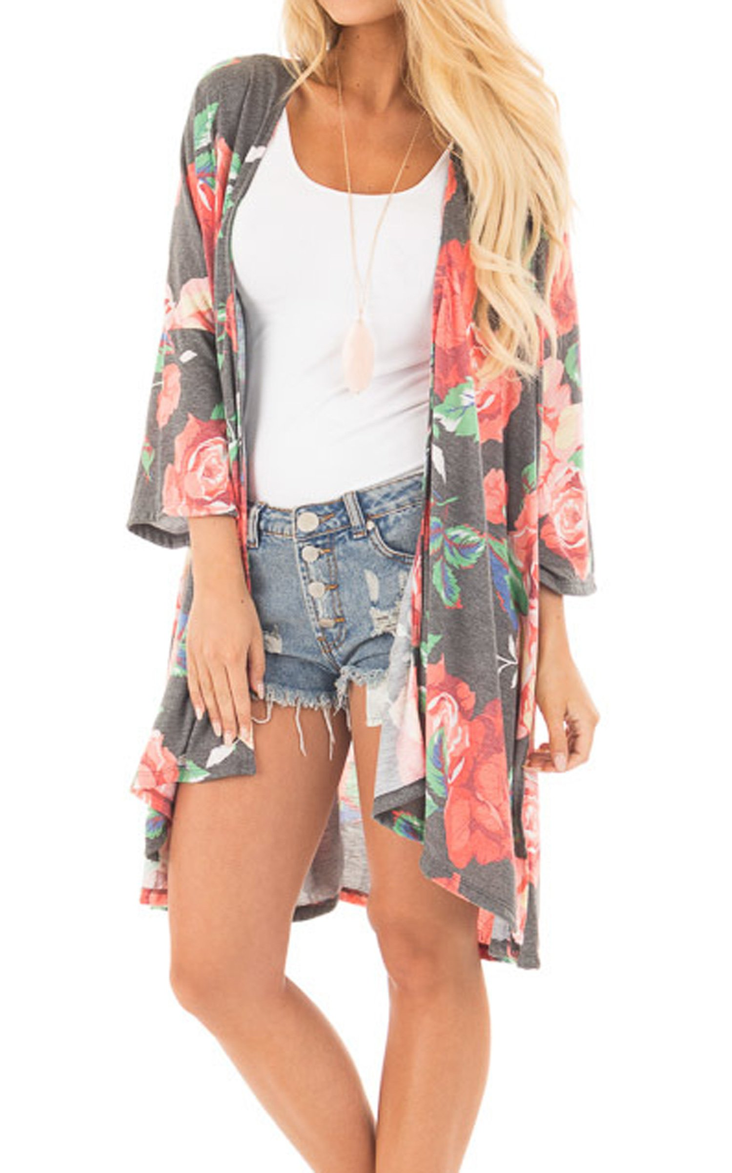 Hibluco Women's Casual 3/4 Sleeve Boho Floral Printed Open Front Cardigan (Grey, Small)