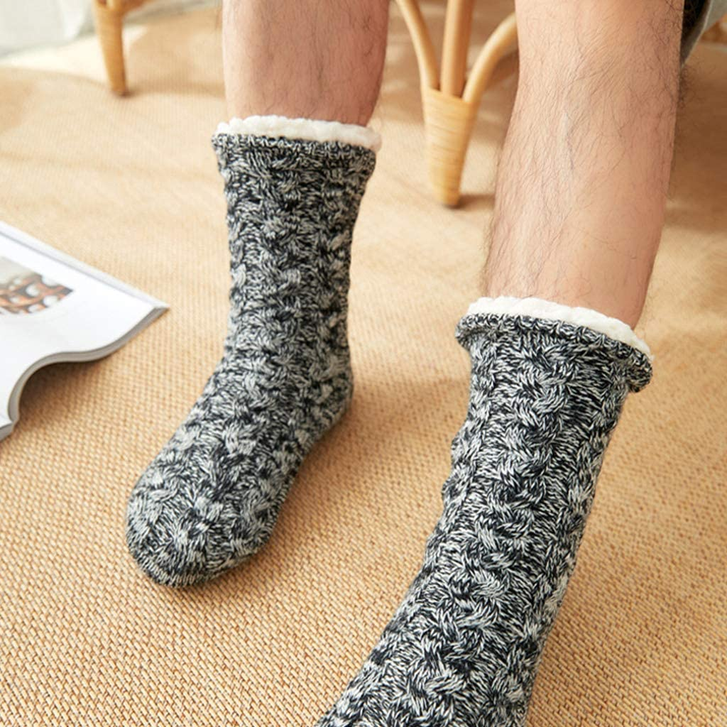 Men Winter Warm Fuzzy Slipper Socks Twist Cable Knit Solid Plush Lined Hosiery