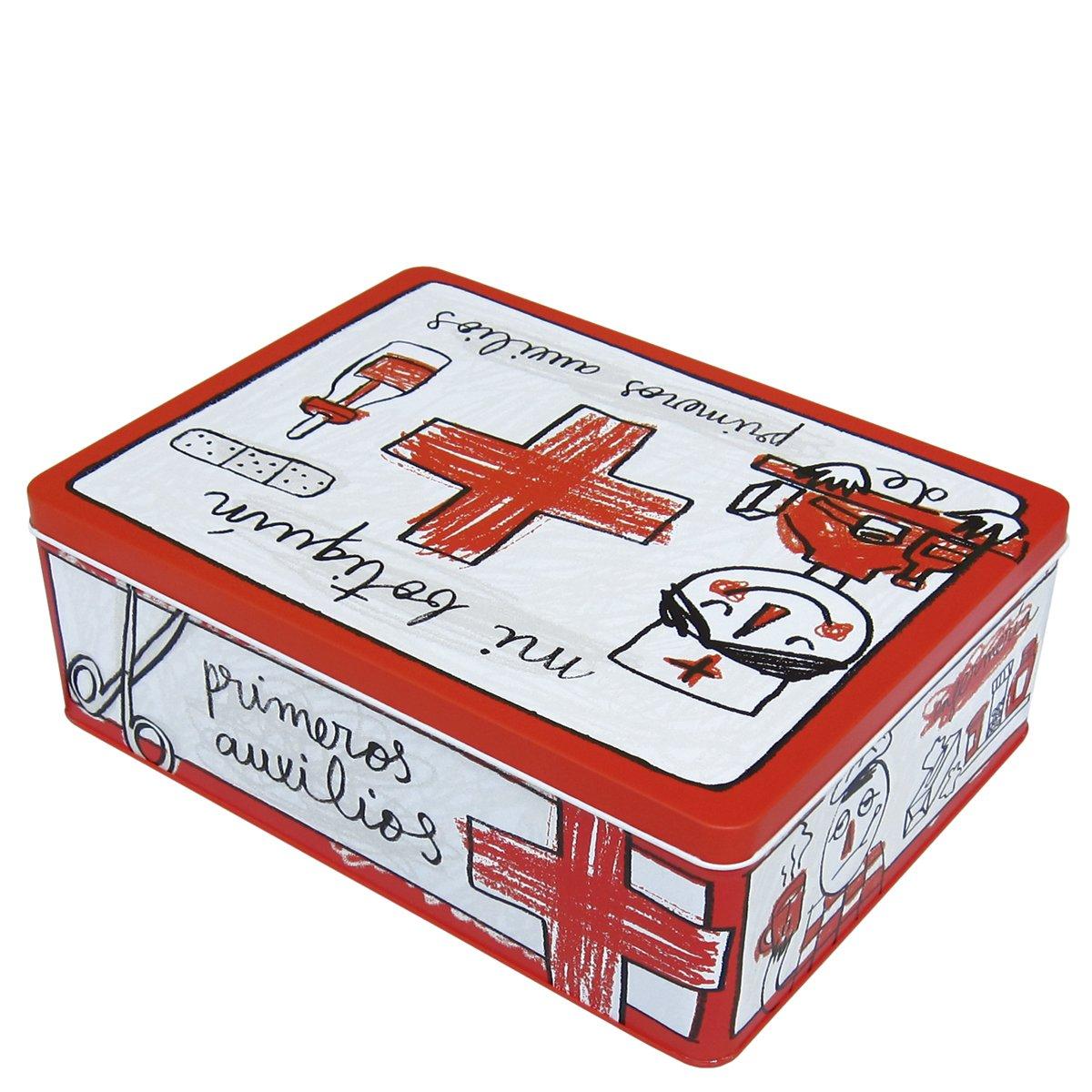 Laroom Caja metálica, Metal, Rojo, Blanco: Amazon.es: Hogar