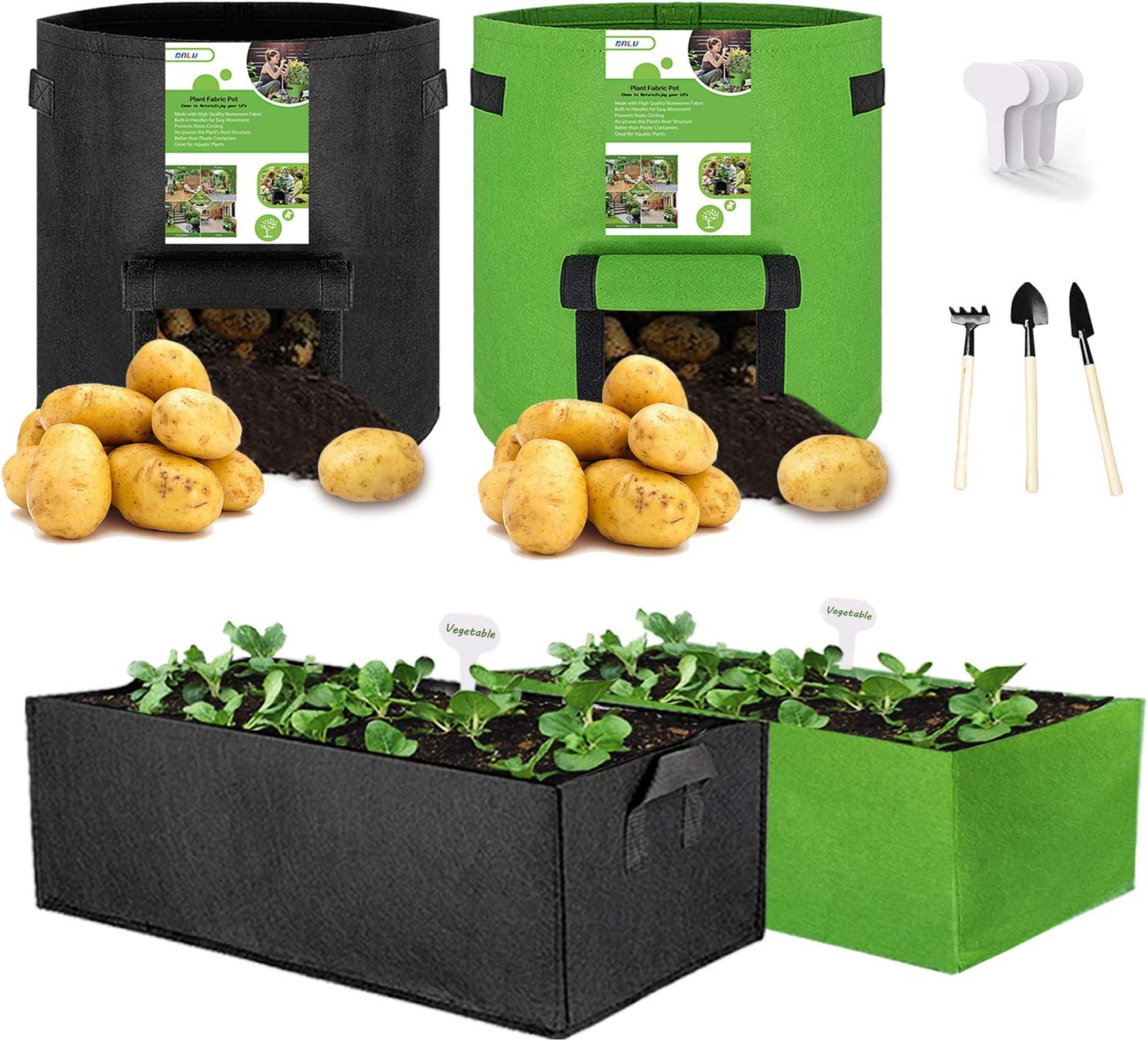 DALV Grow Bags 10 Gallon 4 Pack, Thickened Nonwoven Fabric Pots Heavy Duty Aeration Plant Grow Bag with Handles 3 Digging Tools 4 Labels