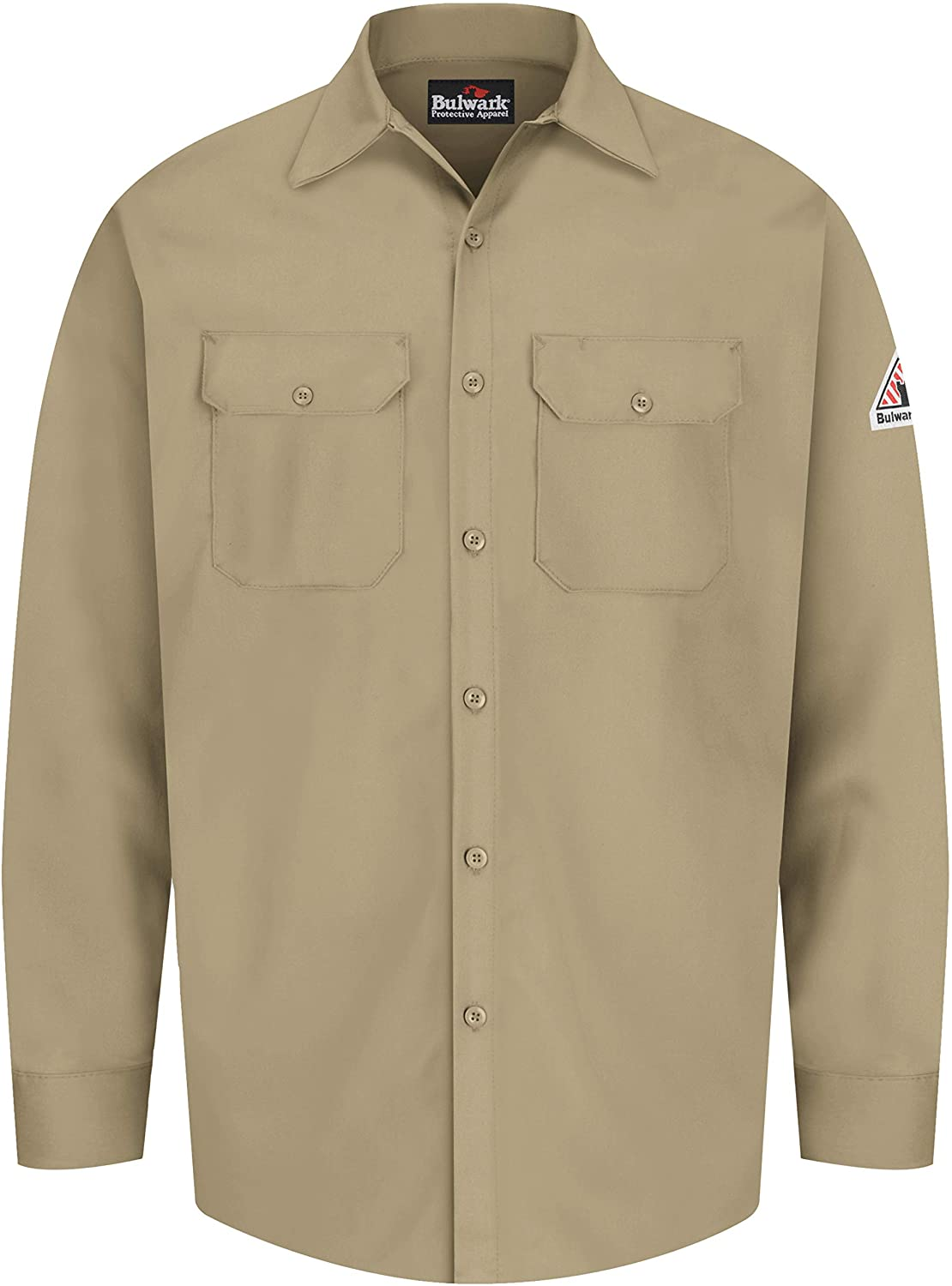 Bulwark Men's Flame Resistant 7 Oz Cotton Work Shirt with Sleeve Vent: Clothing