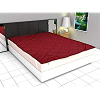Generic Polyester Waterproof Double Size Mattress Protector Bed Cover- 182x198 cm, Maroon