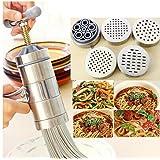 Portable Pasta Maker/ Noodles Machine/ Nouilles Machine Machine à Pâtes en Acier Inoxydable (1 Machine et 5 Emporte-PièCes)