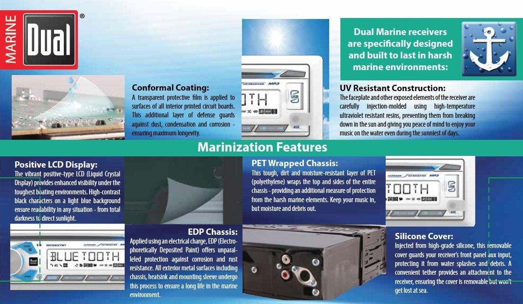 Dual Electronics 1DIN MRN CD AM/FM RCVR/BT MCD237BT