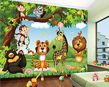 Fondo De Pantalla Personalizado Fondo De Pantalla De Animales De Dibujos Animados De Animales Para Niños Sala De Estar M Televisor Sofá Fondo De Pantalla 3D Murales Y Vinilos-350X250CM: Amazon.es: Bricolaje y
