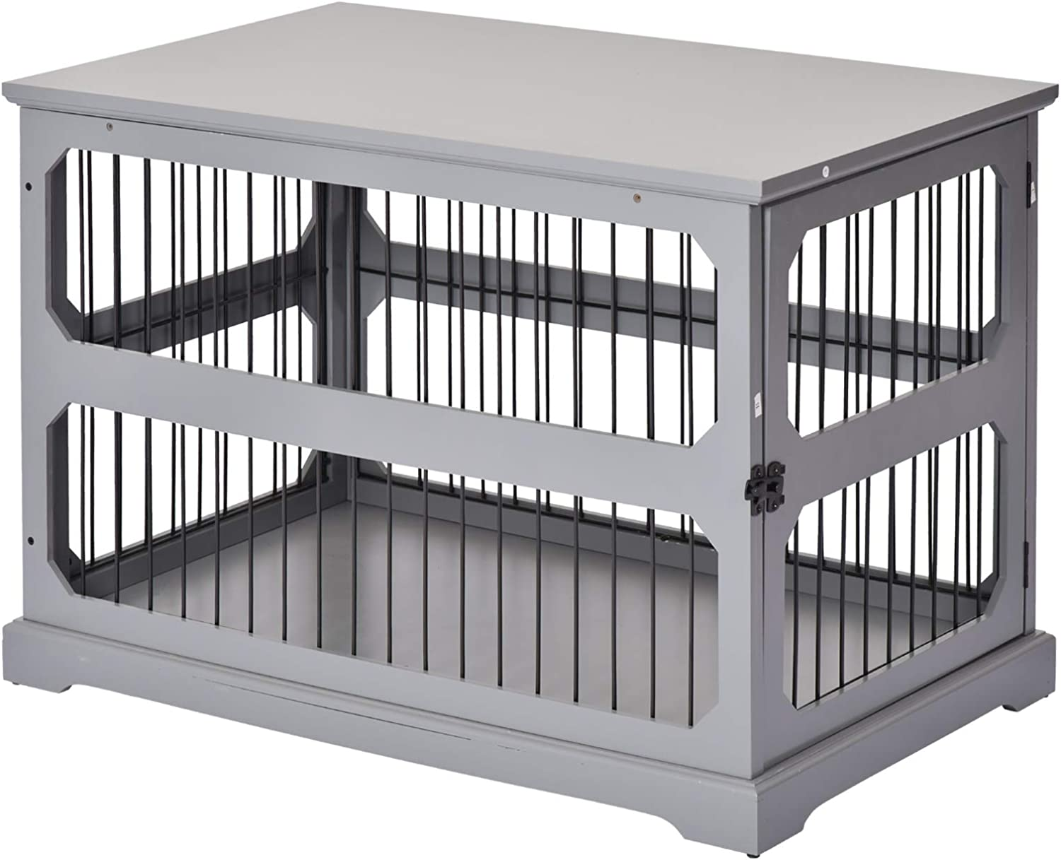 PawHut Decorative Dog Cage/Crate Kennel with Strong Construction Materials & a Classic Americana Style, Grey