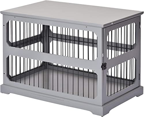 PawHut Decorative Dog Cage Crate Kennel with Strong Construction Materials a Classic Americana Style, Grey