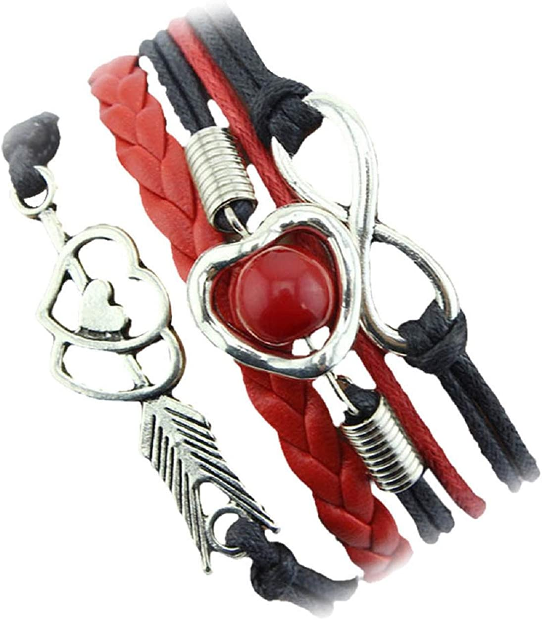 Malloom® Cupido pulsera Infinity + flechas con doble corazón + perla amistad antigüedad cuero Brazalete Encantado (negro(black))