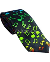 Black with Colorful Music Notes Skinny Necktie
