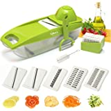 Deluxe Mandoline Slicer with Peeler-5 Interchangeable Stainless Steel Blades, Cleaning Brush, ABS Premium Plastic! Julienne Slicer, Vegetable Cutter, Safety Hand Guard Included-FREE Ebook-ByTallen's