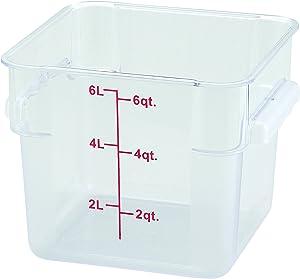 Winco Square Storage Container, 6-Quart,Clear