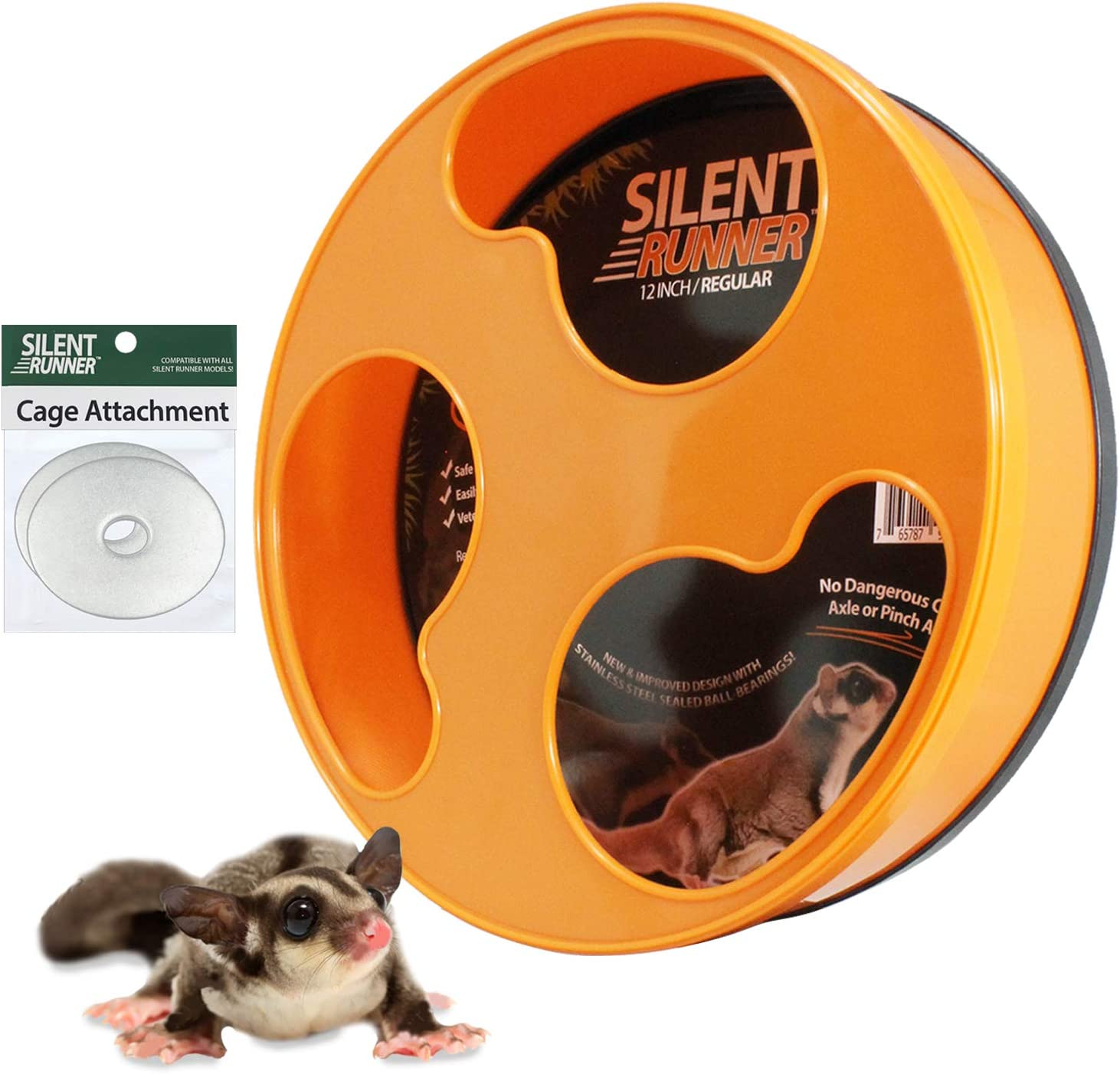 NO Stand Exotic Nutrition Silent Runner 12 Regular - for Sugar Gliders Hamsters Cage Attachment Hardware Mice and Other Small Pets Durable Exercise Wheel Female Rats