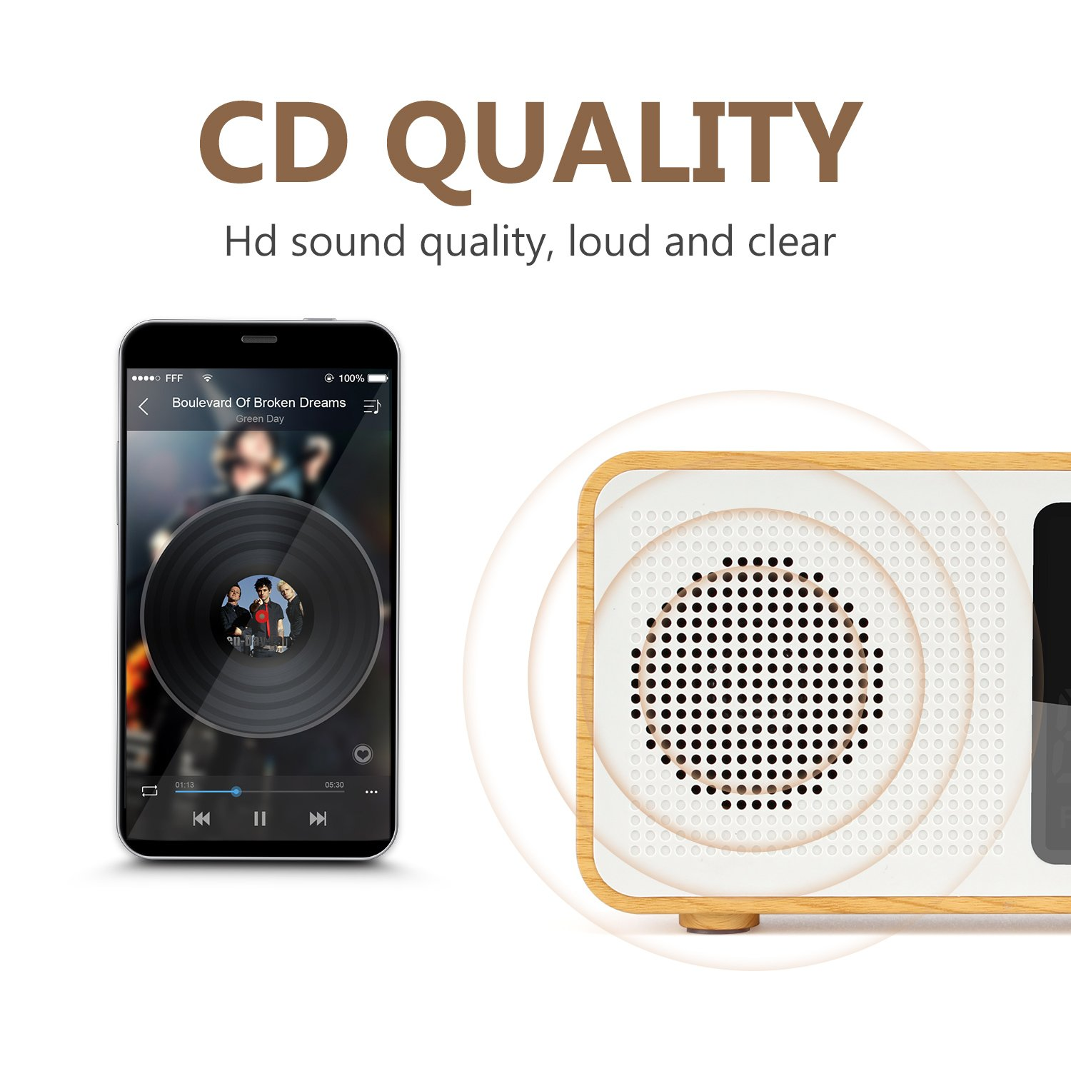 YSEECHENS Portable Bluetooth Speaker Retro FM Radio with Alarm Clock Stereo Wireless Speakers Support TF Card//AUX-in Colorful Spectrum Display Maple Wood