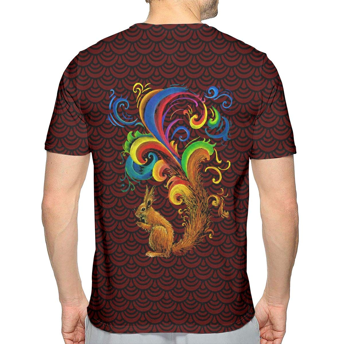 JJKKFG-H Psychedelic Squirrel Mens Cool Short Sleeve Tee Shirt
