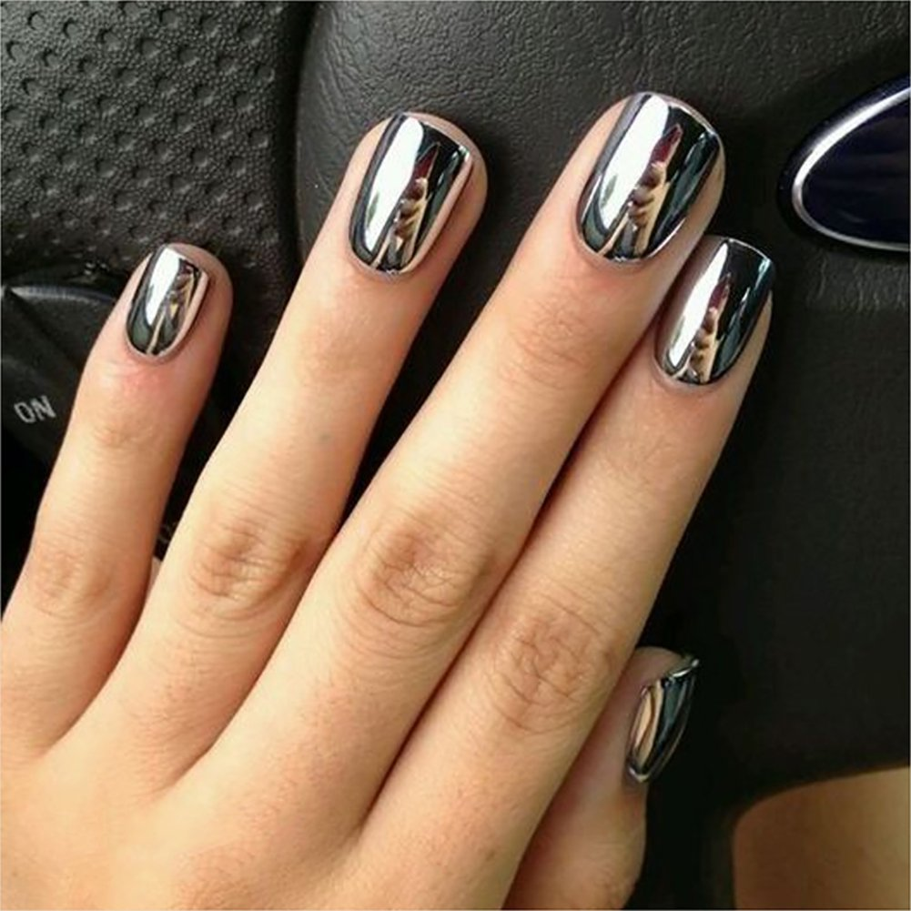 Amazon.com : Mirror Effect Nail Polish Silver Color with Nail Art ...
