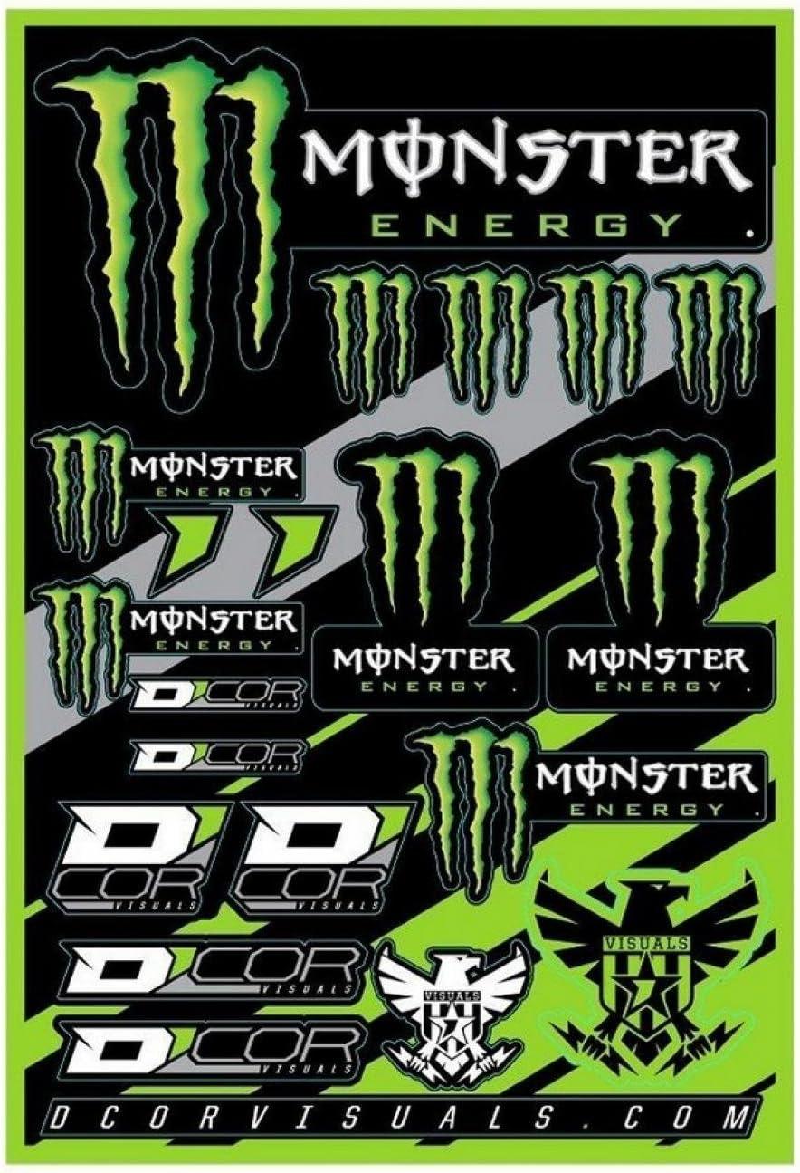 Monster Energy Aufkleber Bogen 19 Aufkleber 40 90 102 Cm Für Motorrad Scooter Auto