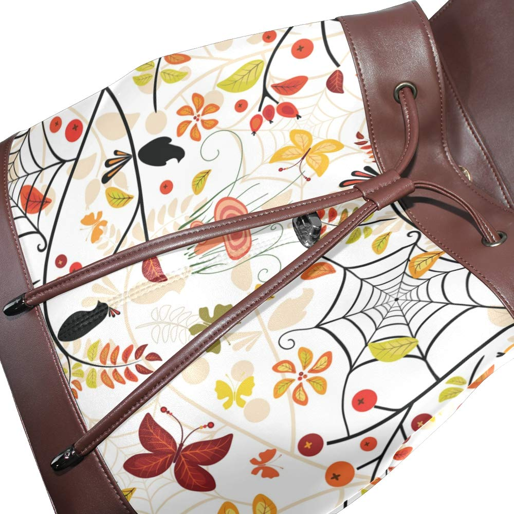 KEAKIA Women PU Leather Autumn Floral Pattern Backpack Purse Travel School Shoulder Bag Casual Daypack