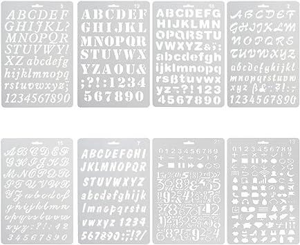 NouveLife Juego de 8 láminas, plantillas de cifras y letras para ...