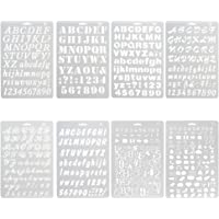 NABLUE Pack of 8 Plastic Alphabet Letter Number Drawing Painting Stencils Scale Template Sets for Bullet Journal Stencil…