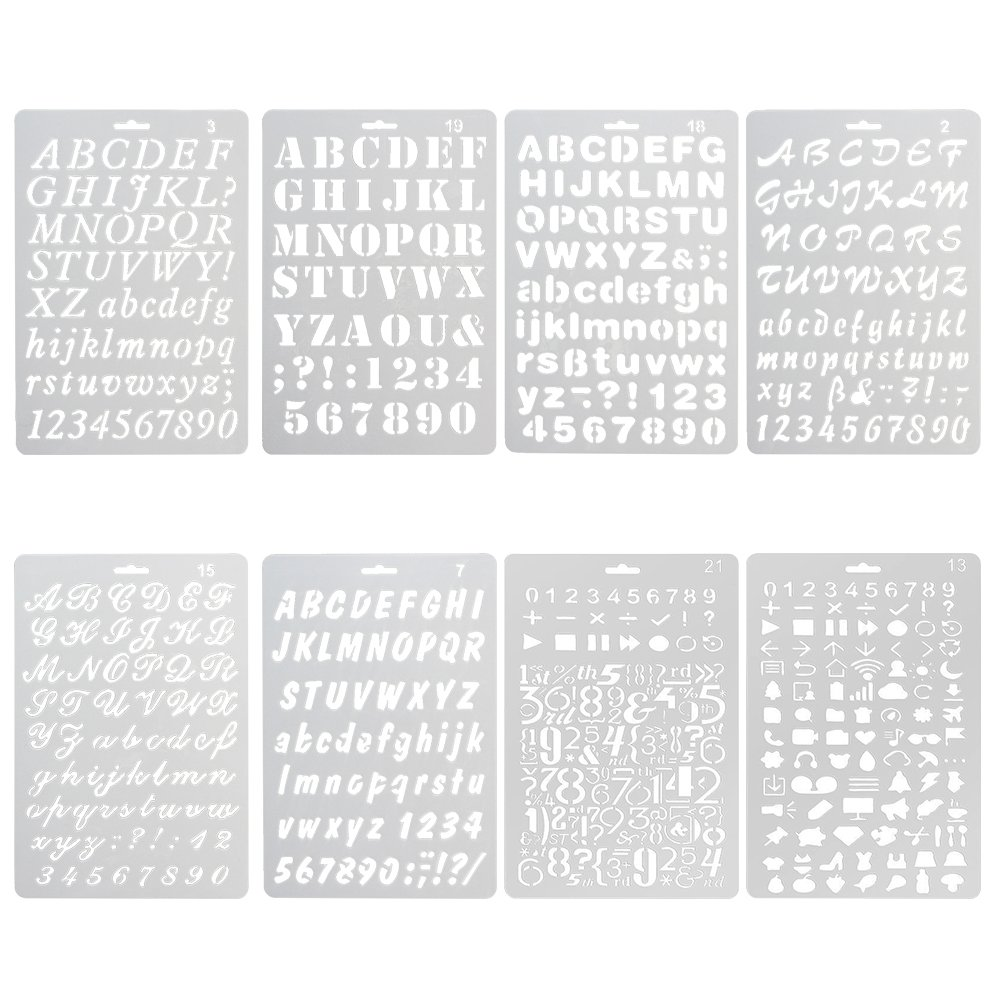 NABLUE Pack of 8 Plastic Alphabet Letter Number Drawing Painting Stencils Scale Template Sets For Bullet Journal Stencil Planner/Scrapbook/DIY Painting Craft Projects WJLHBC8PC 4336890629
