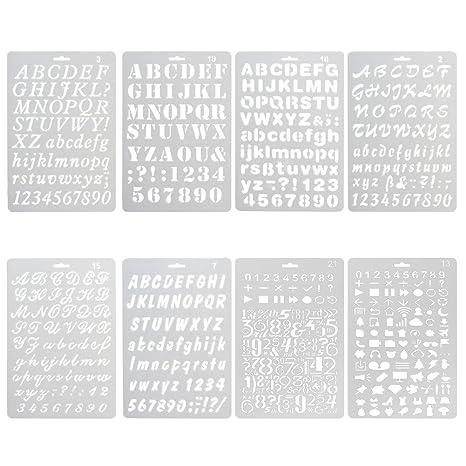 NouveLife Juego de 8 láminas, plantillas de cifras y letras para manualidades, 1 a 3 cm, flexibles, reutilizables