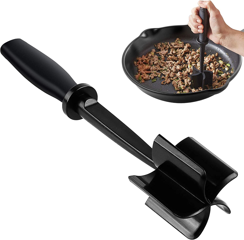 Meat Chopper, Hamburger Chopper, Premium Heat Resistant Mix Chopper, Ground Beef Chopper Tool & Meat Fork, Potato Masher,Safe for Non-Stick Cookware