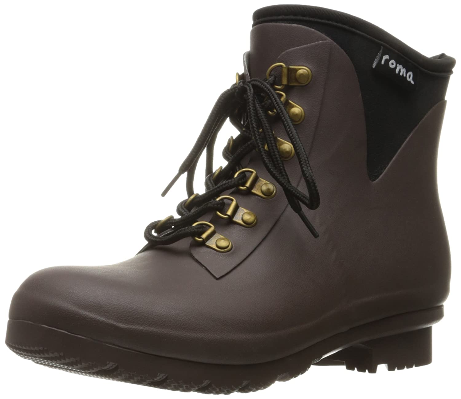 Roma Boots Women's Evol Lace-up Ankle Rain Boots B01L2WO99M 8 B(M) US|Brown