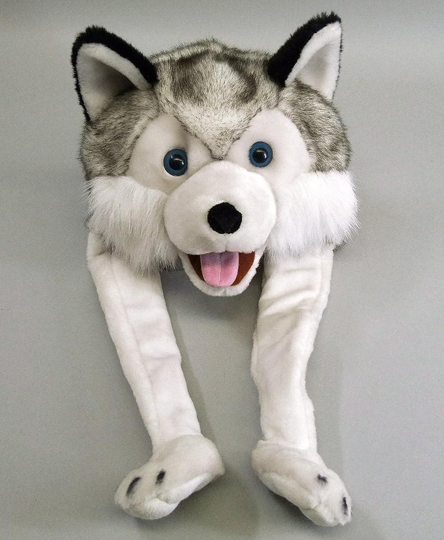 Husky Mütze - grau-weiß, mit Huskykopf aus Velourplüsch Huskykopf aus Velourplüsch