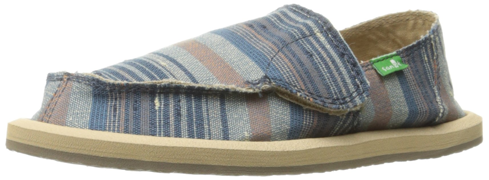 Sanuk Kids Boys' Vagabond Tribal Loafer, Vintage Denim Stripe, 11 M US Little Kid