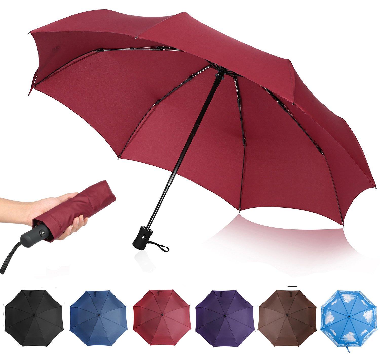 QHUMO Compact Travel Umbrella Windproof, Auto Open Close Umbrellas for Women Men