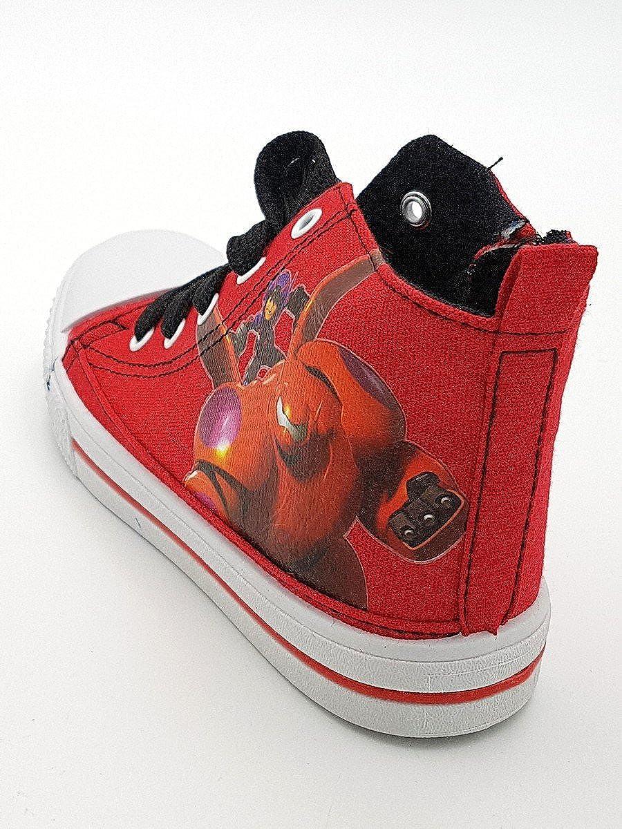 Shoes scarpe bimbo bambino primaverili estive sportive da ginnastica casual  comode con lacci e cerniera alla caviglia big hero cotone disney colore  rossa ... 5730da29137