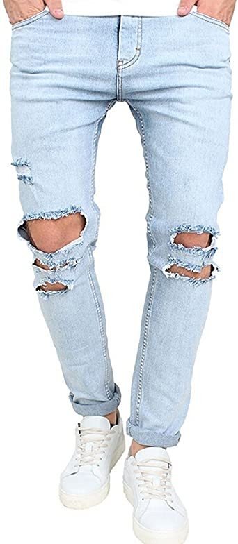 Amazon Com Sonder Moda Hermoso Para Hombre Skinny Ripped Lavar Jeans Destruido Rodilla Agujeros Denim Roto Azul Claro Pantalones 36 Igual A La Foto Clothing