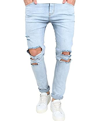 f3feae0cb7f B Dressy Fashion Handsome Men s Skinny Ripped Washed Jeans Destroyed Knee  Holes Denim Broken Light Blue Pants
