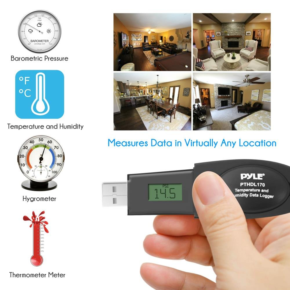 External Monitor Temperature Display Temperature Logger USB Temperature Sensor LCD Digital Display and Built-in Alarm  Over 12000 Data PTHDL170 Upgraded Version Data Logger Thermometer