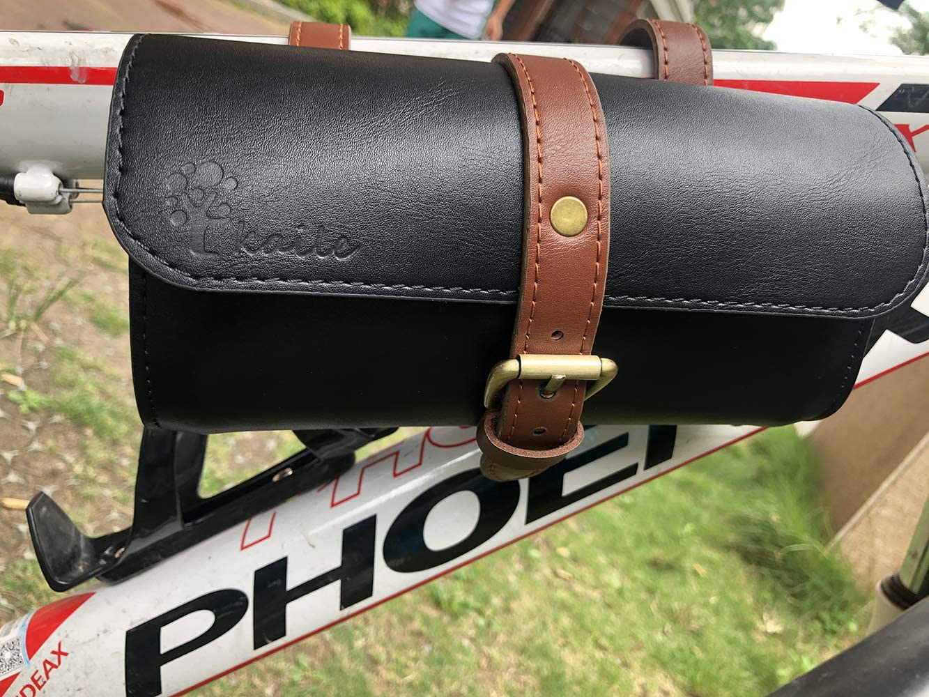 Green Brown Vintage Bike Saddle Tail Bag Leather Bicycle Rear Seat Bag Pannier