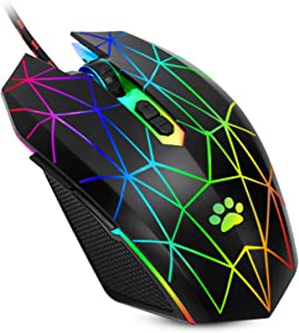USB Wired Mouse,RGB Optical Computer Mouse,7200 DPI Office and Home Mice,7 Buttons Premium and Portable,Computer Mice Wired for Windows PC, Laptop, Desktop,Notebook,Black