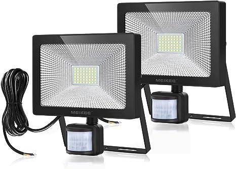 Patio Lampe de S/écurit/é pour Eclairage Jardin Cour Spot LED Ext/érieur 6000LM Super Lumineux IP66 Etanche Blanc Froid 6500K MEIKEE 60W Projecteur LED Detecteur de Mouvement