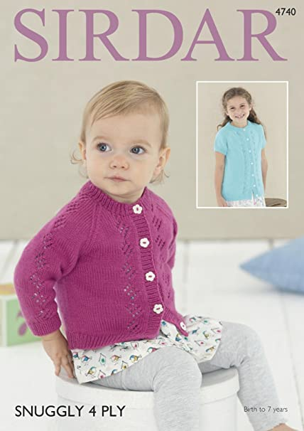 e11c7ca14 Sirdar 4740 Knitting Pattern Baby   Girls Cardigans in Sirdar Snuggly 4  Ply  Amazon.co.uk  Kitchen   Home
