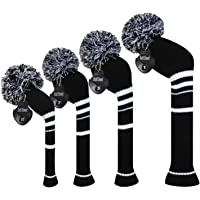 Meili Dark Color Knit Golf Headcover Set of 4 for Driver Wood, Fairway Wood*2 and Hybrid, Long Neck, Big Pom Pom, Low-Key Style