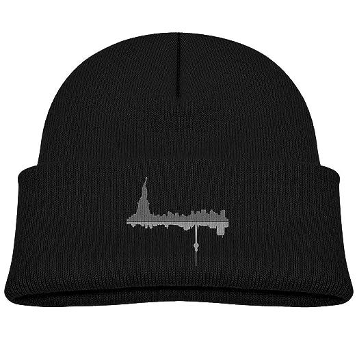 1b202c609b6 Amazon.com  Kids Knitted Beanies Hat New York Reflection Winter Hat Knitted  Skull Cap for Boys Girls Black  Clothing
