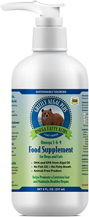 Grizzly Algal Plus Omega Fatty Acids Food Supplement for Dogs & Cats (Various Sizes) - Vegan, Sourced & Made in USA, Plant-Sourced Algal Oil Omega 3-6-9, Lustrous Skin & Coat