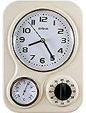 Visua Nia Retro Metal Kitchen Clock With Mechanical Timer And Temperature Gauge, Ivory by Visua