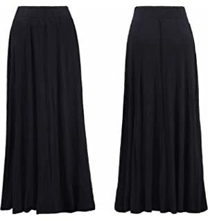 ba863e846 Abielmo Women Ladies Maxi Skirt Fully Lined Pull on Elasticated Waist 39-42  INCHES Long Ankle…