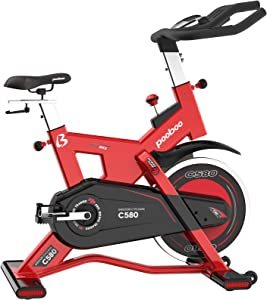 pooboo Exercise Bike Indoor, Belt Drive Cycling Bike Stationary with 40 Lbs Flywheel Indoor Stationary Bikes Quiet & Smooth with LCD Display Pad Mount for Home Cardio Workout