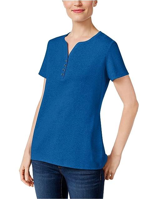 5f289cfb149a4 Karen Scott Women s Henley T-Shirt Blue S  Amazon.ca  Clothing ...