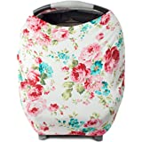 Nursing Cover Car Seat Canopy Shopping Cart High Chair Stroller and Carseat Covers for Girls- Best Stretchy Infinity Scarf and Shawl- Multi Use Breastfeeding Cover Up- Vintage White Floral