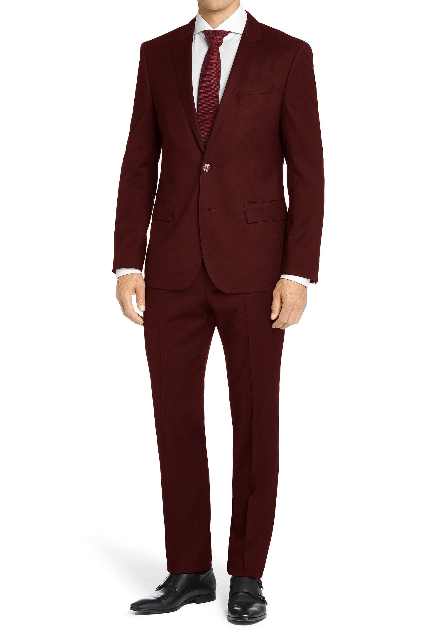 MDRN Uomo Mens Classic Fit 2 Piece Suit, Burgundy, Size 40Rx34W
