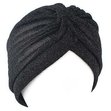 QHGstore Mujeres Twist plisado volante Chemo Pre atado Turbante Cap abrigo de pelo Cover Up negro: Amazon.es: Deportes y aire libre