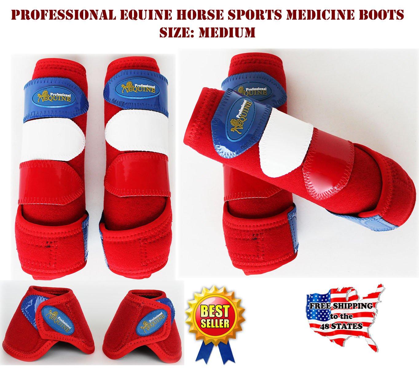 Professional Equine Horse Medium 4-Pack Sports Medicine Splint Bell Boots 4144D