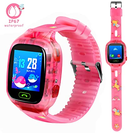 LTAIN Kids Smart Watch Waterproof Smartwatch with GPS Tracker Smart Phone Watch iOS/Android SOS Alarm Clock Camera Security Zone Voice Chat Phone Book ...